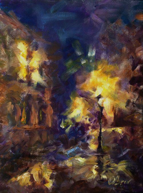 Night Prague - acrylic on canvas