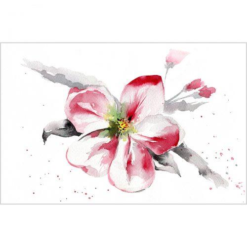 Blooming apple tree, watercolor