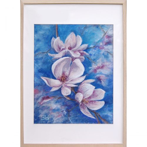 Blooming magnolia - soft pastel on paper