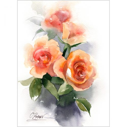 "Roses, watercolor on paper, 7.8*11.8"" (20x30 cm)"
