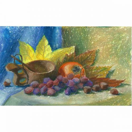 Date plum, grape and nuts - original soft pastel painting