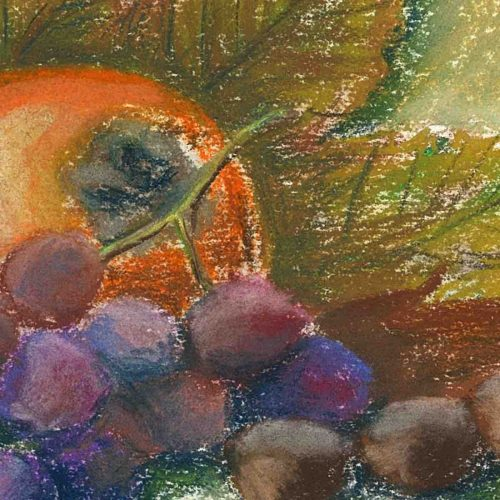 Date plum, grape and nuts - original soft pastel painting - close up