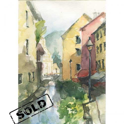Annecy old Town - original watercolor painting
