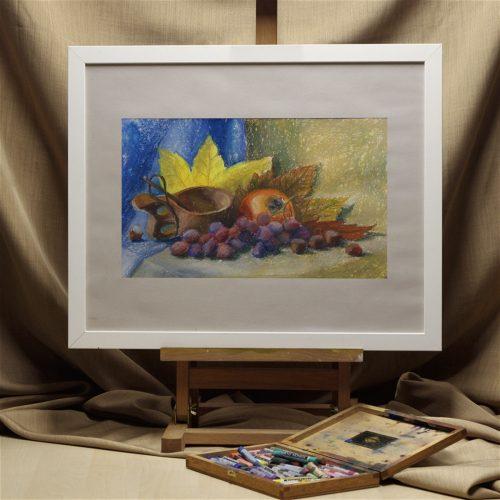 Date plum, grape and nuts - original soft pastel painting - interior