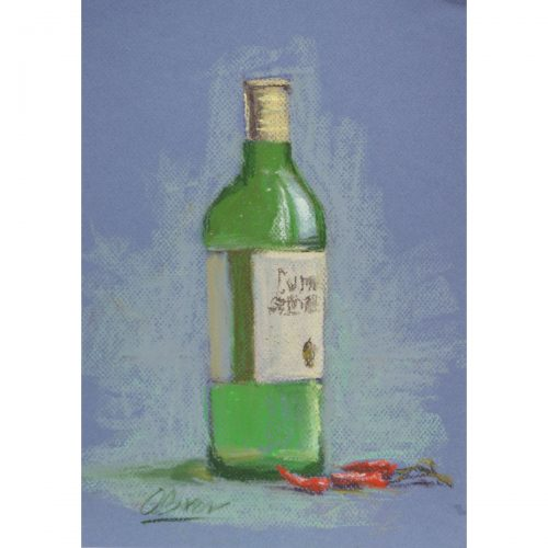 Bottle & chilli pepper - soft pastel painting