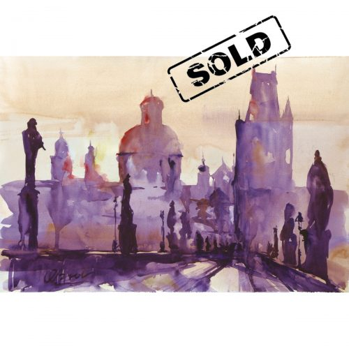 Sunset on the Charles bridge in Prague - original watercolor painting on paper