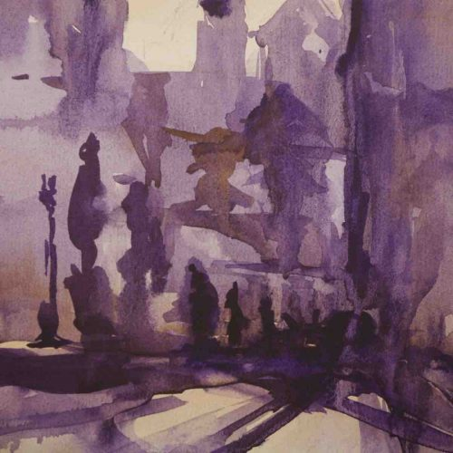 Sunset on the Charles bridge in Prague - original watercolor painting on paper - close up