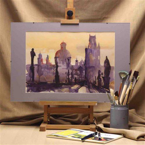 Sunset on the Charles bridge in Prague - original watercolor painting on paper - interior
