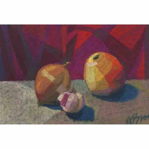 Apple, onion and garlic - original soft pastel painting