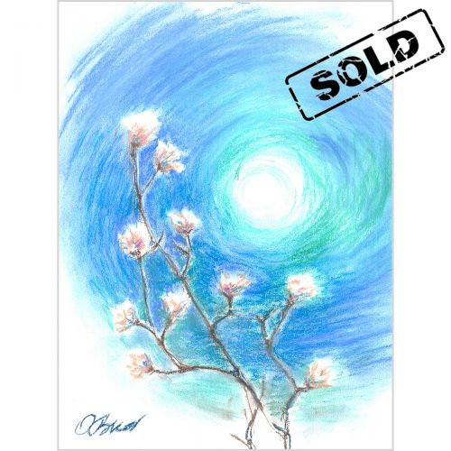 Blooming tree on the light blue background - original soft pastel painting on paper