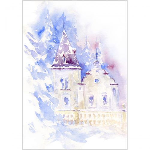 A baroque house in winter forest - original watercolour painting