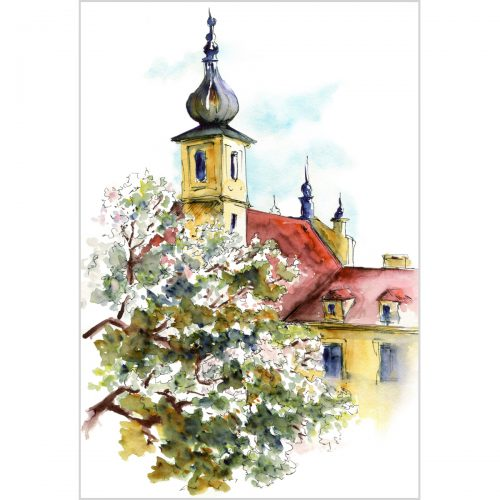 A Prague view from the Petrshin hill - original watercolor painting on paper