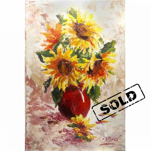 Sunflowers in a vase - original painting
