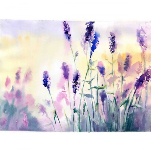 Sunrise at a lavender field - original watercolour painting on paper