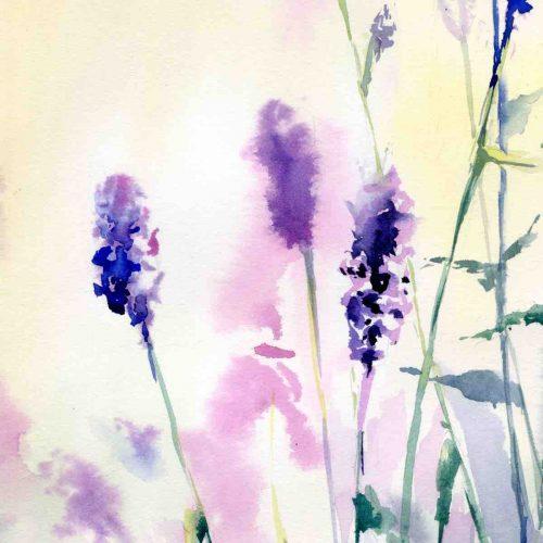 Sunrise at a lavender field - original watercolor paniting - close up