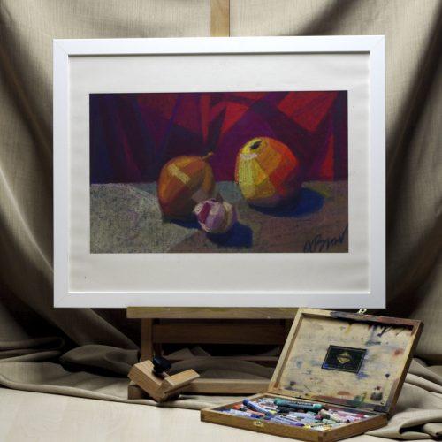 Apple, onion and garlic - original soft painting - interior