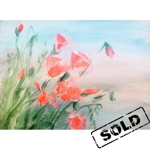 Early morning on a poppies field - original mixed materials painting on canvas