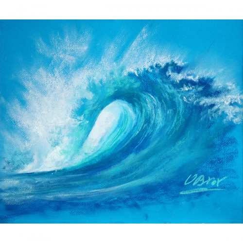 A surf wave - original soft pastel painting