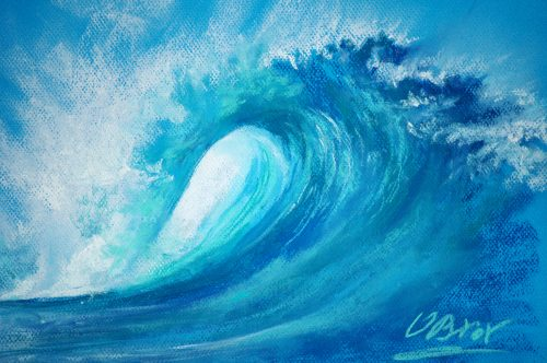 A surf wave - original soft pastel painting - close up