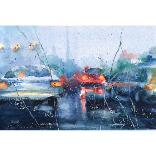 Rainy trip, episode 4 - watercolor 60x40 cm