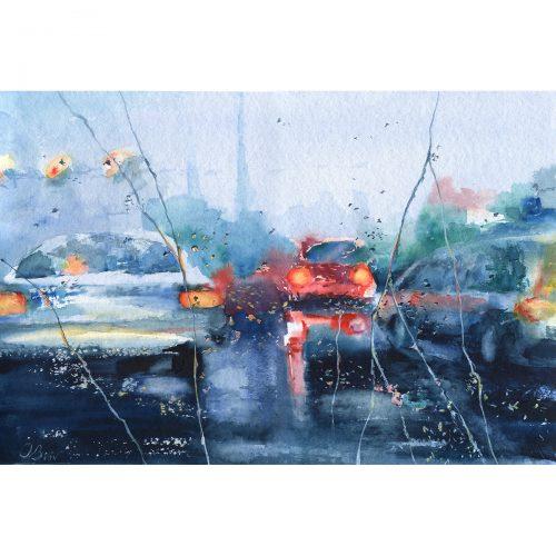 Rainy trip, episode 4 - watercolor 60x40 cm