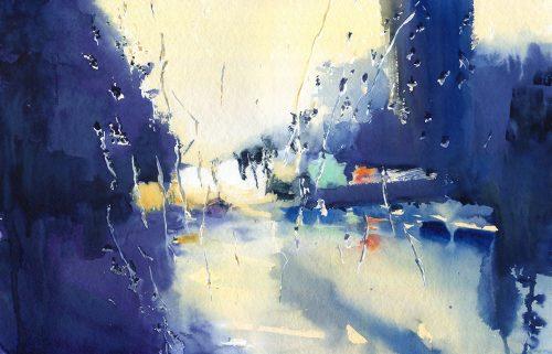 Rainy trip, episode 1 - watercolor 60x40 cm