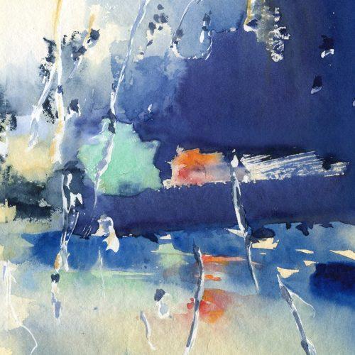 Rainy trip, episode 1 - watercolor 60x40 cm - close up