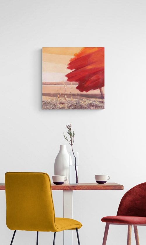 Red - oil painting on canvas in interior