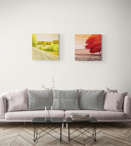 Colors of Earth - oil paintings in interior of living room