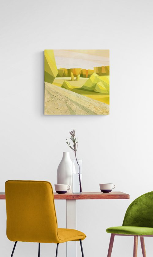 Yellow - oil paintings in interior of cafe