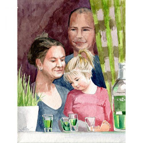 Hezké neděle. Jaro 2021, karanténa - 30x40 cm (v rámu 40x50cm) - 3500 CZK / A nice sunday - watercolor 30x40 cm