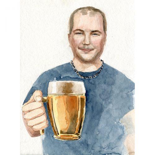 Daš si Kozla nebo Plzeň? Jaro 2021, karanténa - 30x40 cm (v rámu 40x50cm) - 3500 CZK / What about a beer? - watercolor 30x40 cm