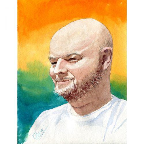 Meditace. Jaro 2021, karanténa - 30x40 cm (v rámu 40x50cm) - 3500 CZK / Meditation - watercolor 30x40 cm