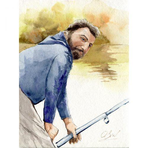 Rybař. Jaro 2021, karanténa - 30x40 cm (v rámu 40x50cm) - 3500 CZK / A fisher - watercolor 30x40 cm